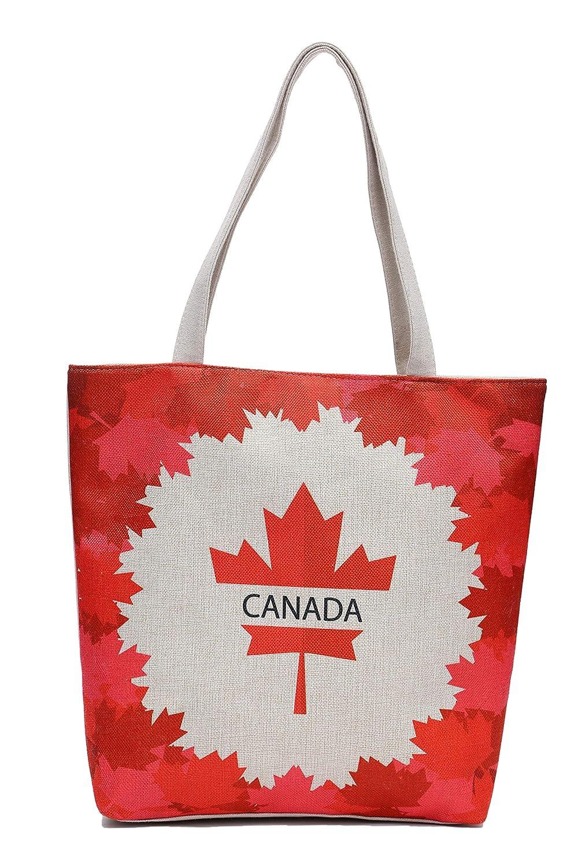 Canadian Canada Flag Maple Leaf Canvas Shoulder Tote Beach Summer Bag Women Girls Purse with Interior Pocket Zipper Closure HG095