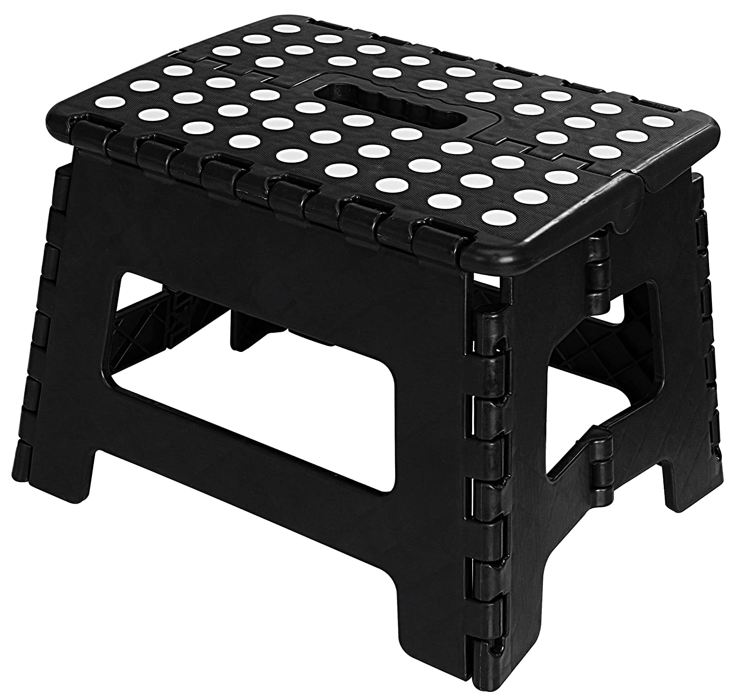 Utopia Home Foldable Step Stool - 11 Inches Wide and 9 Inches Tall - Black and White Color - Light Weight Plastic Design - by UH0286