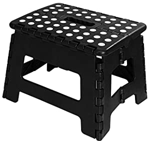 Utopia Home Foldable Step Stool for Kids - 11 Inches Wide and 9 Inches Tall - Black and White - Holds Up to 300lbs - Lightweight Plastic Design
