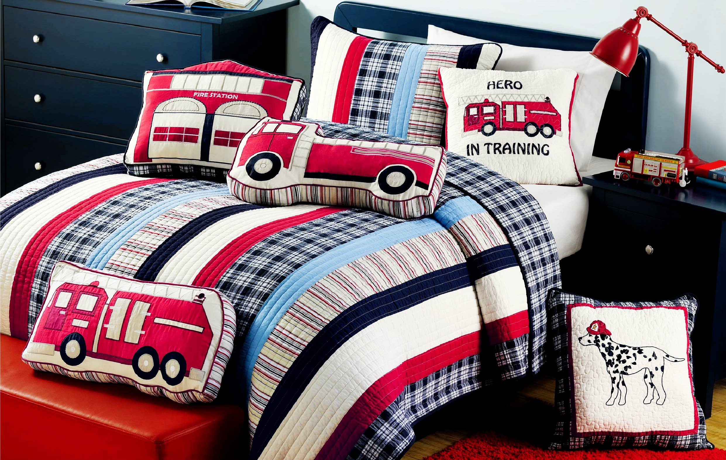 Cozy Line Home Fashions Cars Collection Bedding Quilt Set for Boy, 100% Cotton Navy/Blue/Red Grid Stripe Printed Reversible Bedspread Coverlet for Kids (Full/Queen -3 Piece:1 Quilt + 2 Shams) by Cozy Line Home Fashions