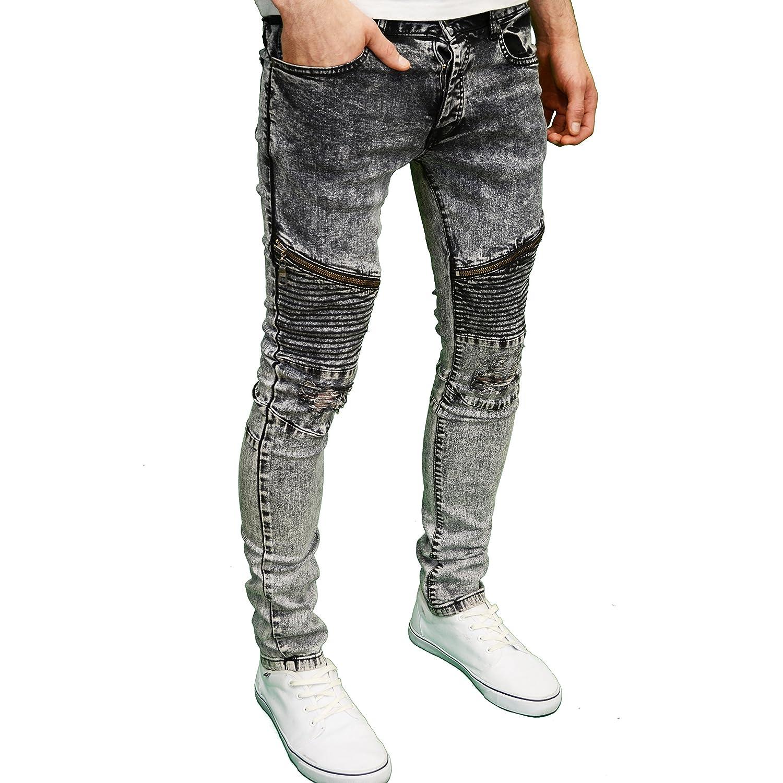 Seven Series Mens Designer Stretch Skinny Fit Biker Rip Panel Detail Jeans