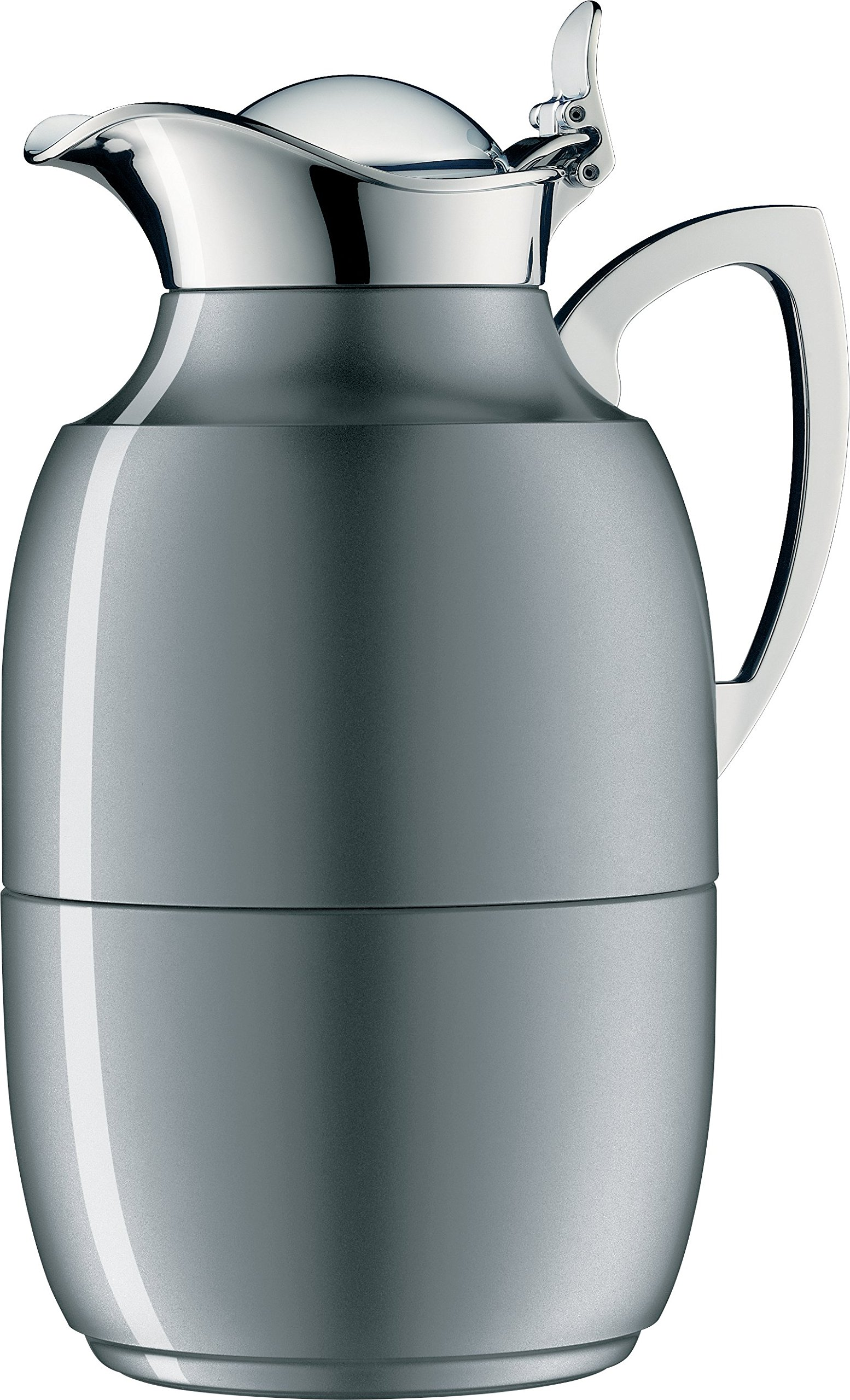 alfi Juwel Glass Vacuum Lacquered Metal Thermal Carafe for Hot and Cold Beverages, 1.0 L, Space Grey