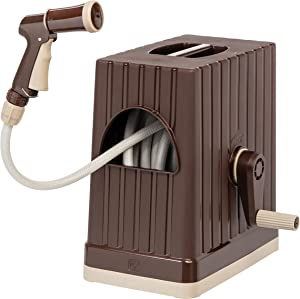 IRIS 65.61 FT Hose Reel with Nozzle, Brown