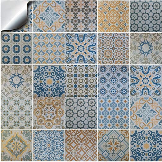 24pc Printed Kitchen Bathroom Tile Stickers For 15cm 6 Square Tiles