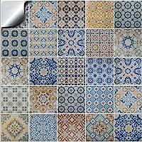 24 tegelstickers voor badkamer en keuken mozaïek wandtegelstickers voor tegels van 10 x 10 cm decoratieve tegelfolie…