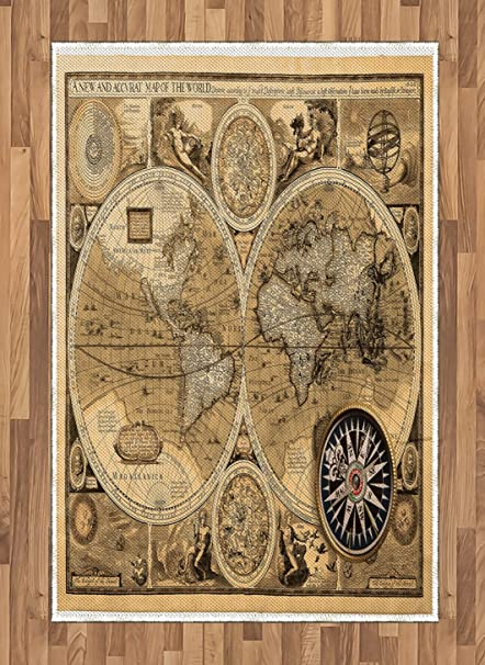 A New And Accvrat Map Of The World 1626.Amazon Com Ambesonne Wanderlust Area Rug Old Map 1626 A New And