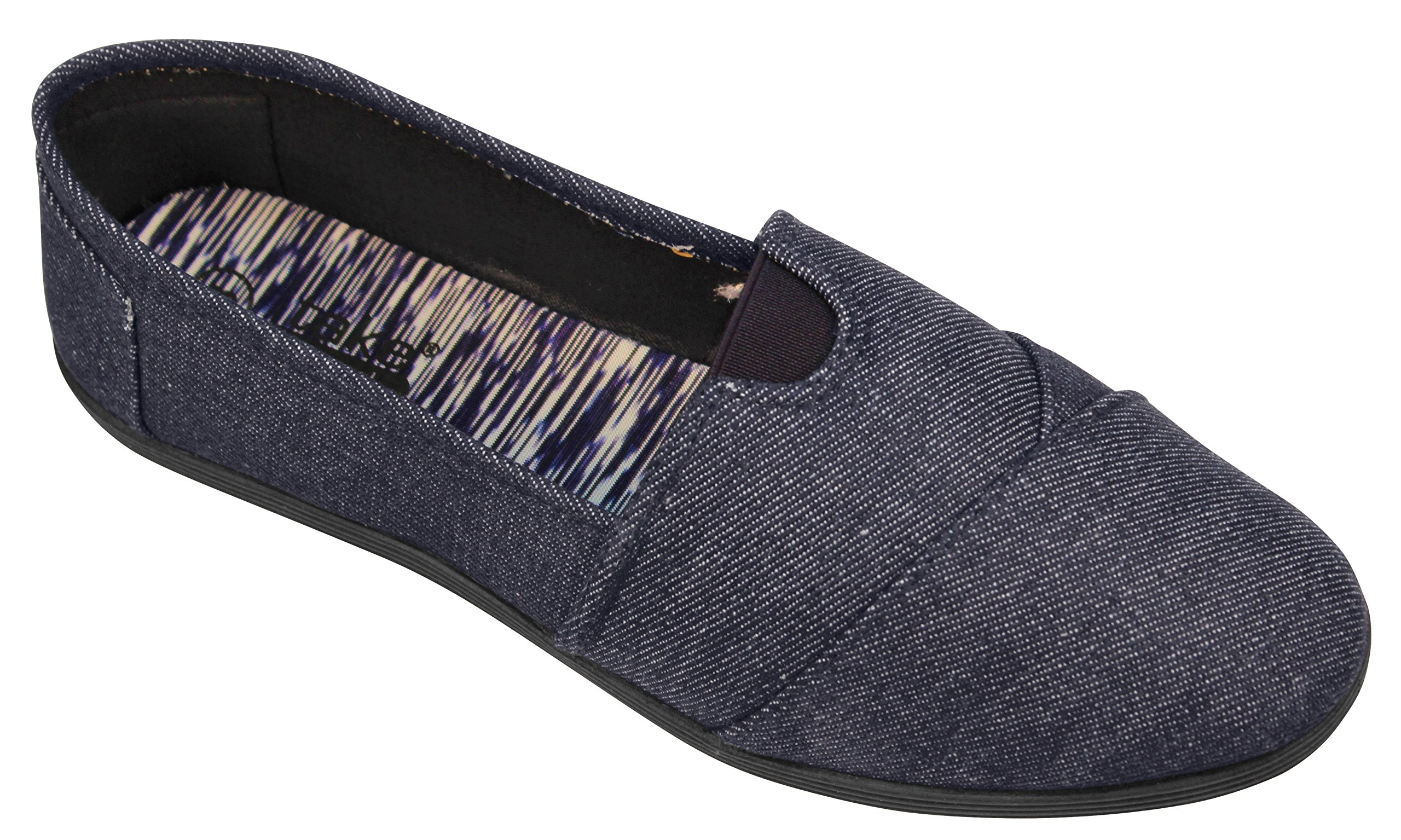 Take A Walk Canvas Slip-on for Women (6, Navy Denim) by Take A Walk