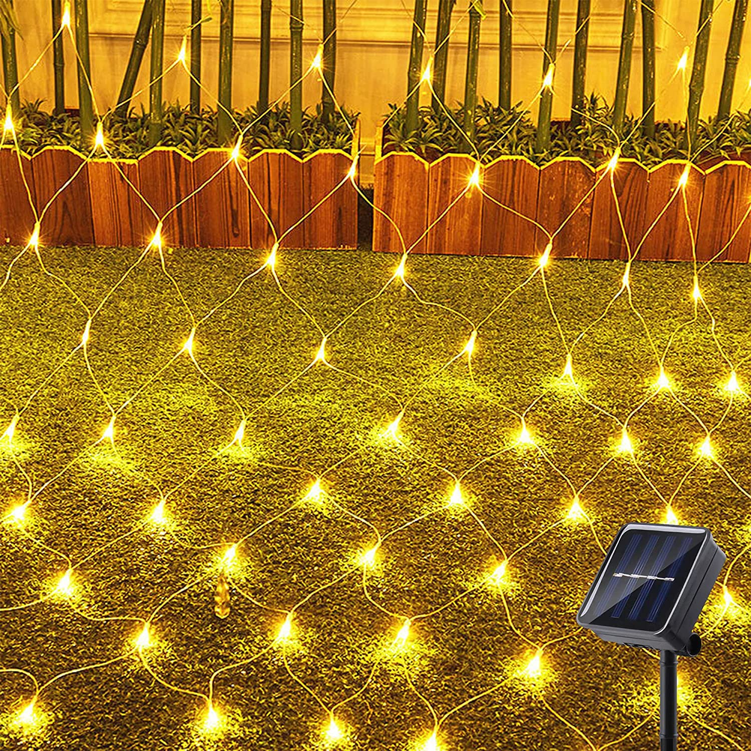 KNONEW 200 LED Solar Net Lights, 8 Modes 9.8ft x 6.6ft Upgraded Super Durable Tree Wrap Mesh Fairy Twinkle Lights Outdoor for Wedding, Patio, Garden, Yard, Party, Fence, Porch, Tree, Roof (Warm White)