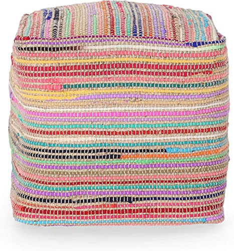 Great Deal Furniture Hannah Boho Jute and Chindi Pouf