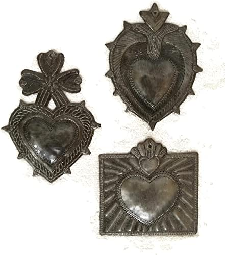 Large Hearts, Metal Milagro Charms, Set of 3 , Love and Friendship, Unique Gifts, Handmade in Haiti, 6 Inch Large Milagro Set