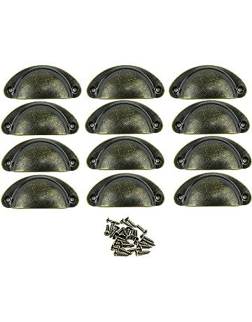 Paor 12Pcs retro muebles de muebles armarios puerta gabinete tirador tiradores y perillas Shell forma con