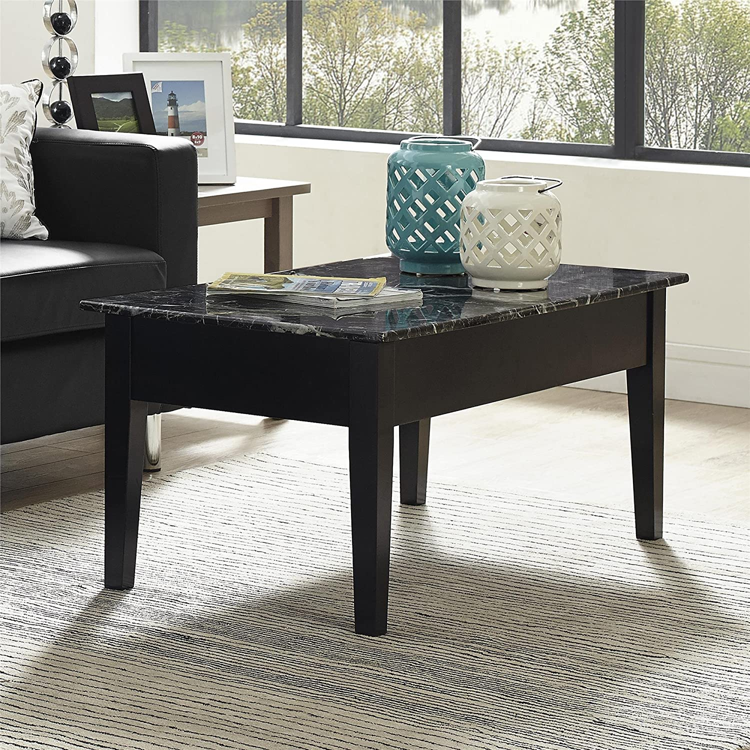 Dorel Living Faux Marble Lift Top Storage Coffee Table