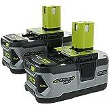 Ryobi P122 4AH One+ High Capacity Lithium Ion Batteries For Ryobi Power Tools (2 Pack of P108 Batteries)