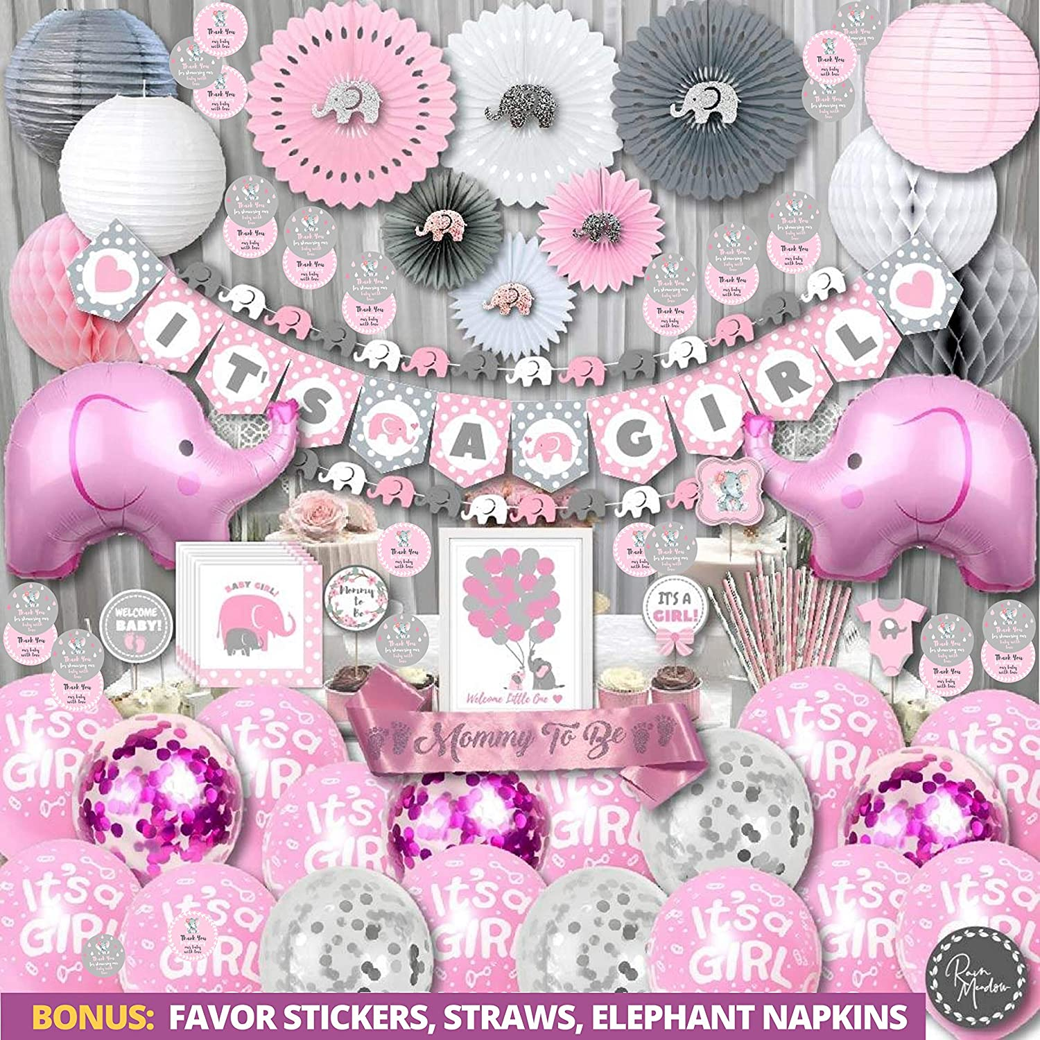 Elephant Baby Shower Decorations for Girl Jumbo Bundle | It's A Girl | Banner, Napkins, Straws, Guest Book, Paper Lanterns, Honeycomb Balls, Fans, Cake Toppers, Sash, Balloons, Games, Pink Grey White