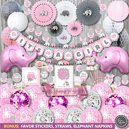 Amazon Com Elephant Baby Shower Decorations For Girl Jumbo Bundle It S A Girl Banner Napkins Straws Guest Book Paper Lanterns Honeycomb Balls Fans Cake Toppers Sash Balloons Games Pink Grey White,Modern Victorian Era Furniture