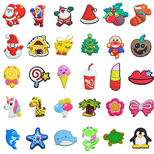 2c2272b2567a7 Amazon.com  30 Pcs Different Lovely PVC Shoe Charms for Crocs   Bands  Bracelet and Gifts  Shoes