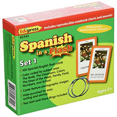 Edupress Spanish in a Flash Cards Set 1 (EP62342): Office Products