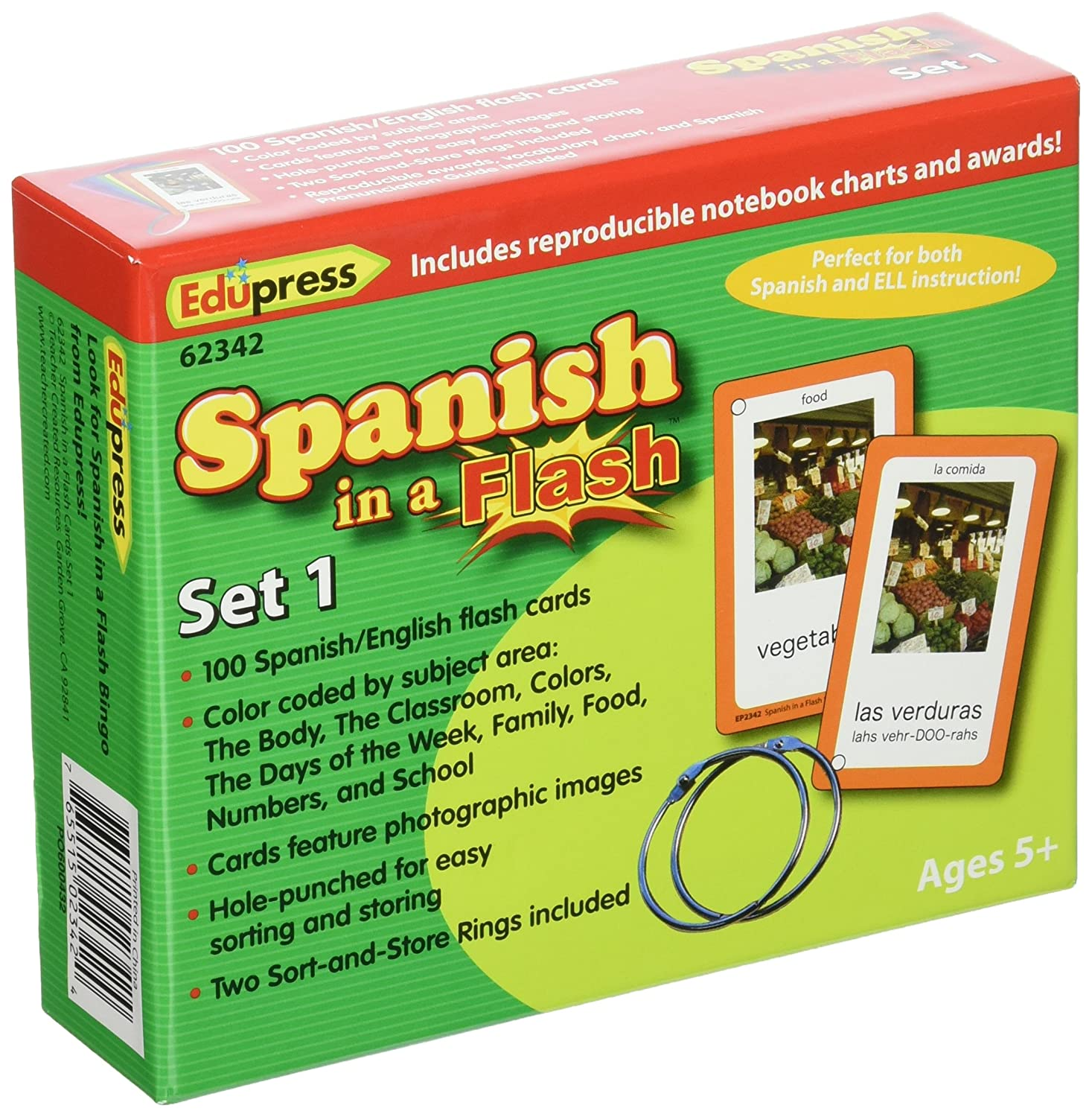 Amazon.com : Edupress Spanish in a Flash Cards Set 1 (EP62342 ...