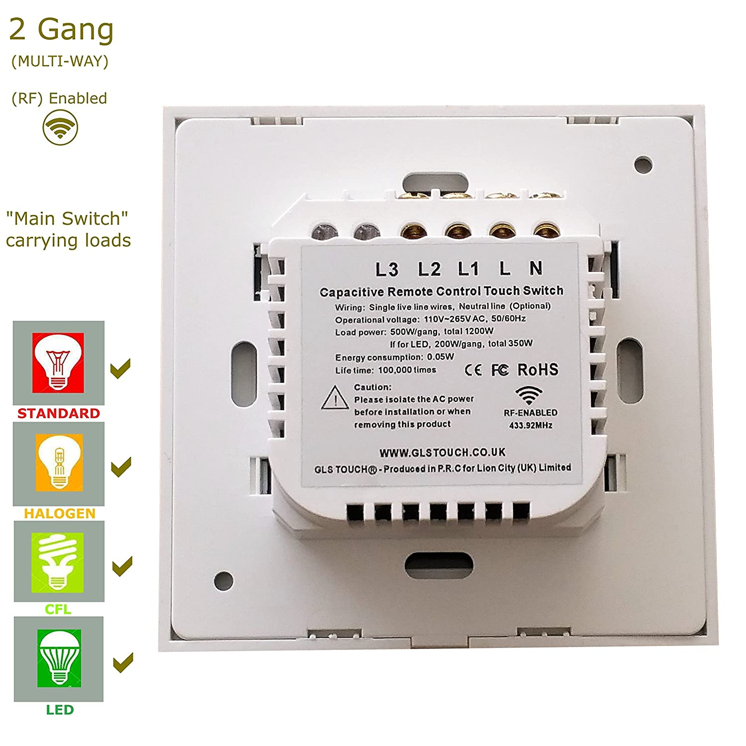 GLSTouch Smart RF Touch Light Switch, White Glass Panel, 2 Gang 1 ...