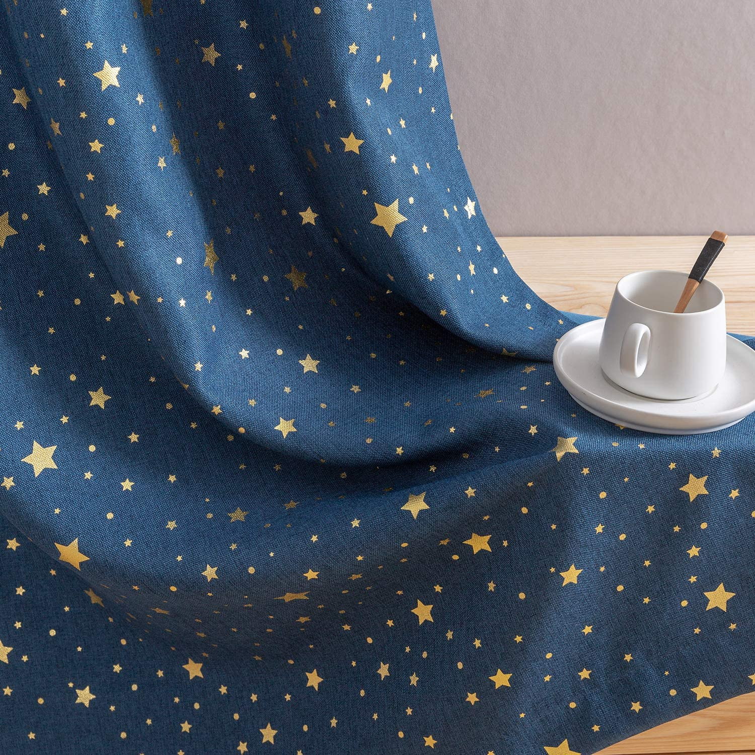 """jinchan Blackout Curtains for Kids Bedroom Gold on Flax Star Design Faux Linen Textured Grommets Shiny Star Window Drapes Living Room 2 Panels 95"""" L Blue"""