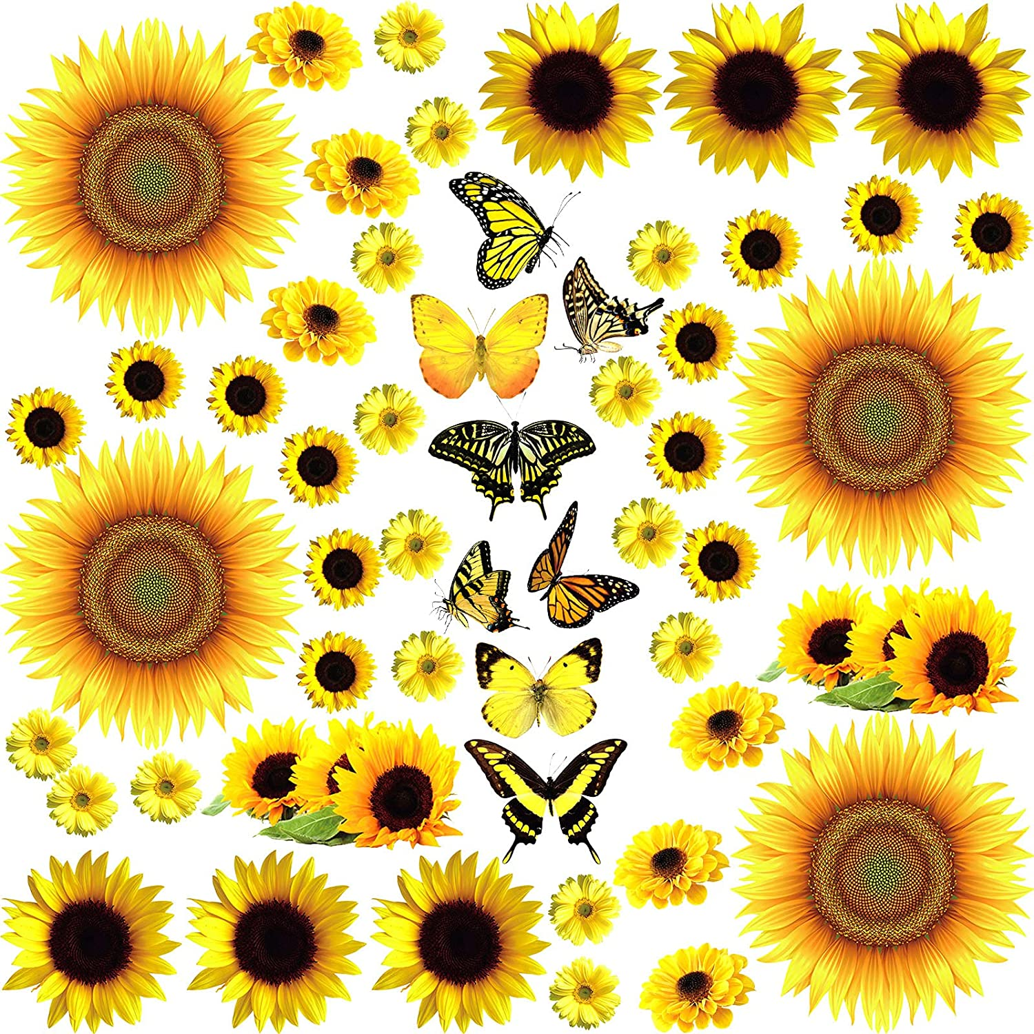 53 Pieces Sunflower Wall Decals with Butterfly Wall Stickers, Waterproof DIY Yellow Flower Mural Stickers Easy to Peel Sunflower Wall Stickers for Nursery Bedroom Living Room Bathroom Kitchen Decals
