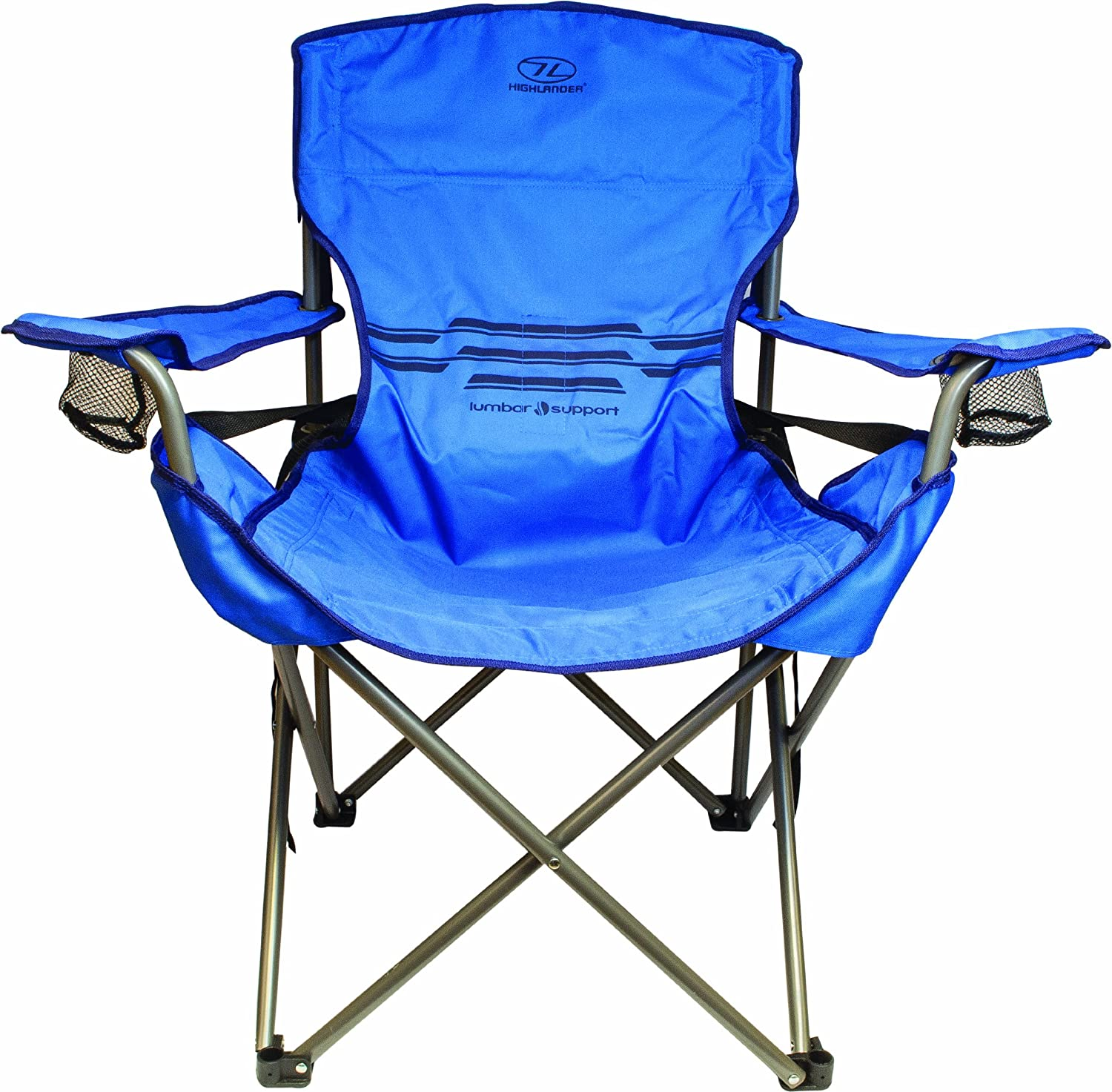 Highlander Lumbar Support Camp Chair Blue Amazon Sports