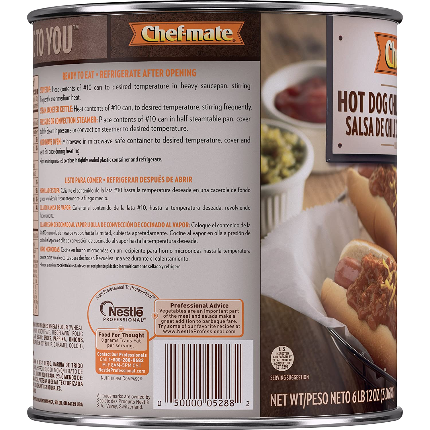 Amazon.com: Chef-mate Hot Dogs Chili, Ready to Eat Chili Sauce, Food, 0 Grams Trans Fat, 6 lb 10 oz, #10 Can (Great for Snacks, Office, Parties): Prime ...