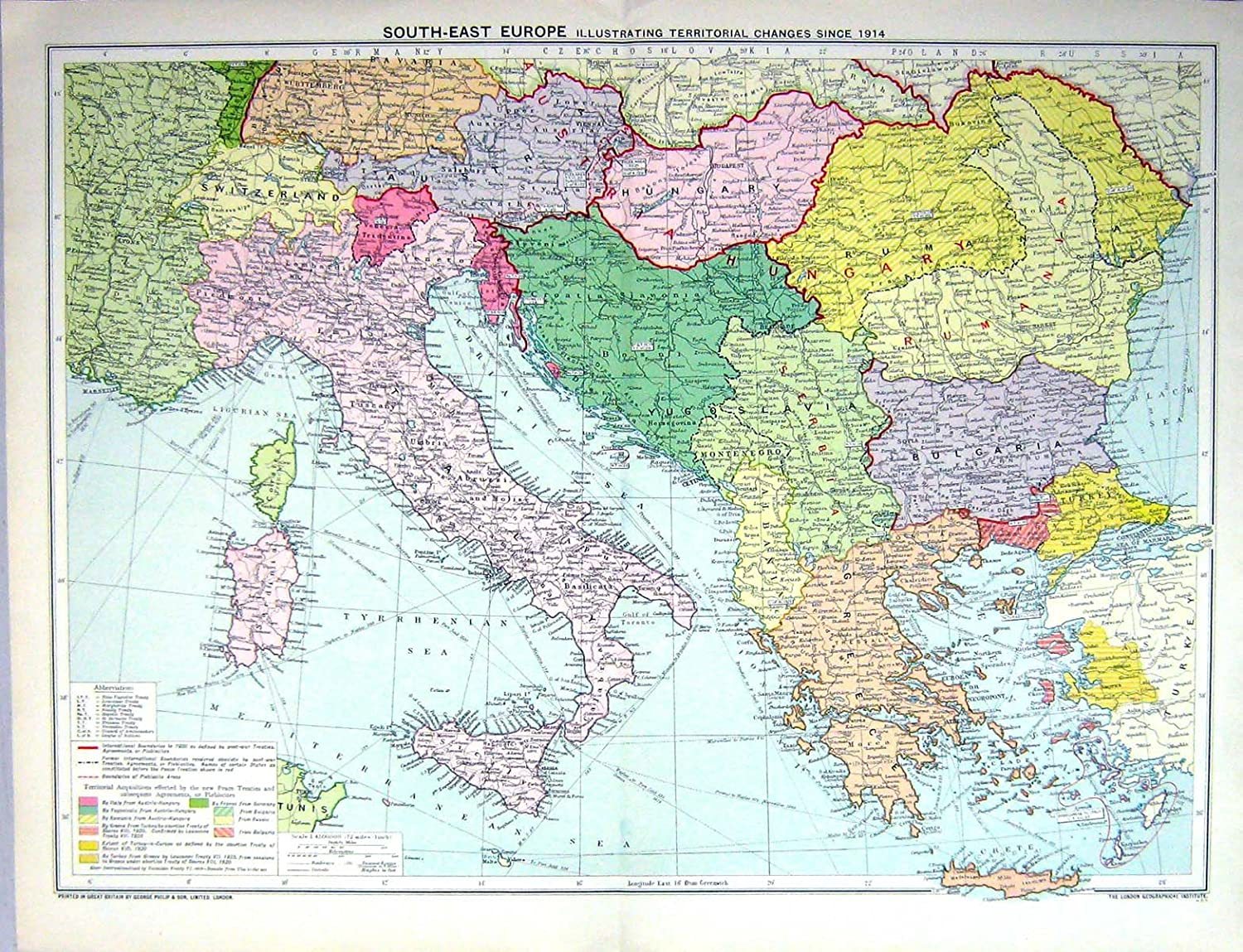 Old Original Antique Victorian Print Map Europe Italy Greece