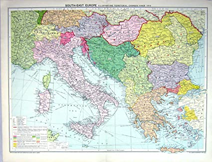 Map Of Italy Greece.Old Original Antique Victorian Print Map Europe Italy Greece Turkey