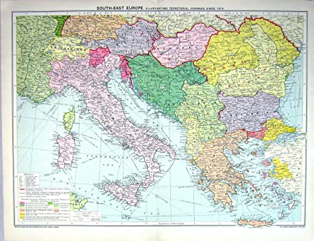 Map Of Italy Greece And Turkey.Old Original Antique Victorian Print Map Europe Italy Greece Turkey