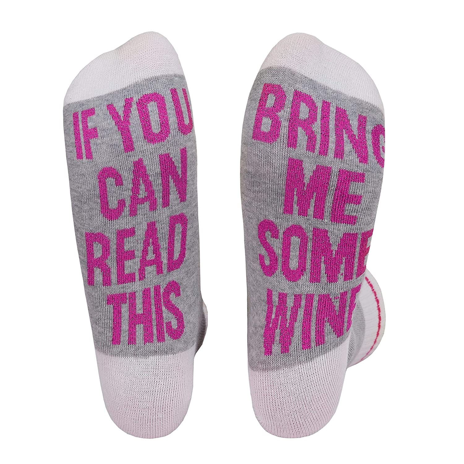 Women's Bring Me A Class of Wine Socks Novelty Funny Funky Soft Saying Tube Crew Socks
