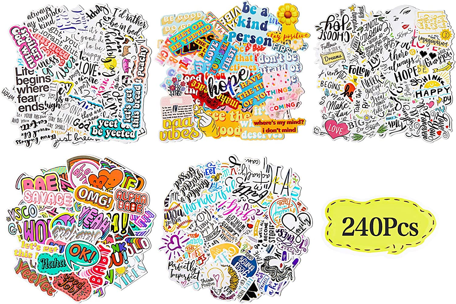 240 Pieces Mixed Inspirational Stickers Letter Vinyl Stickers for Water Bottles Reward Motivational Laptop Stickers Waterproof Trendy Stickers Decal for Adults Teens Luggage Skateboard Guitar
