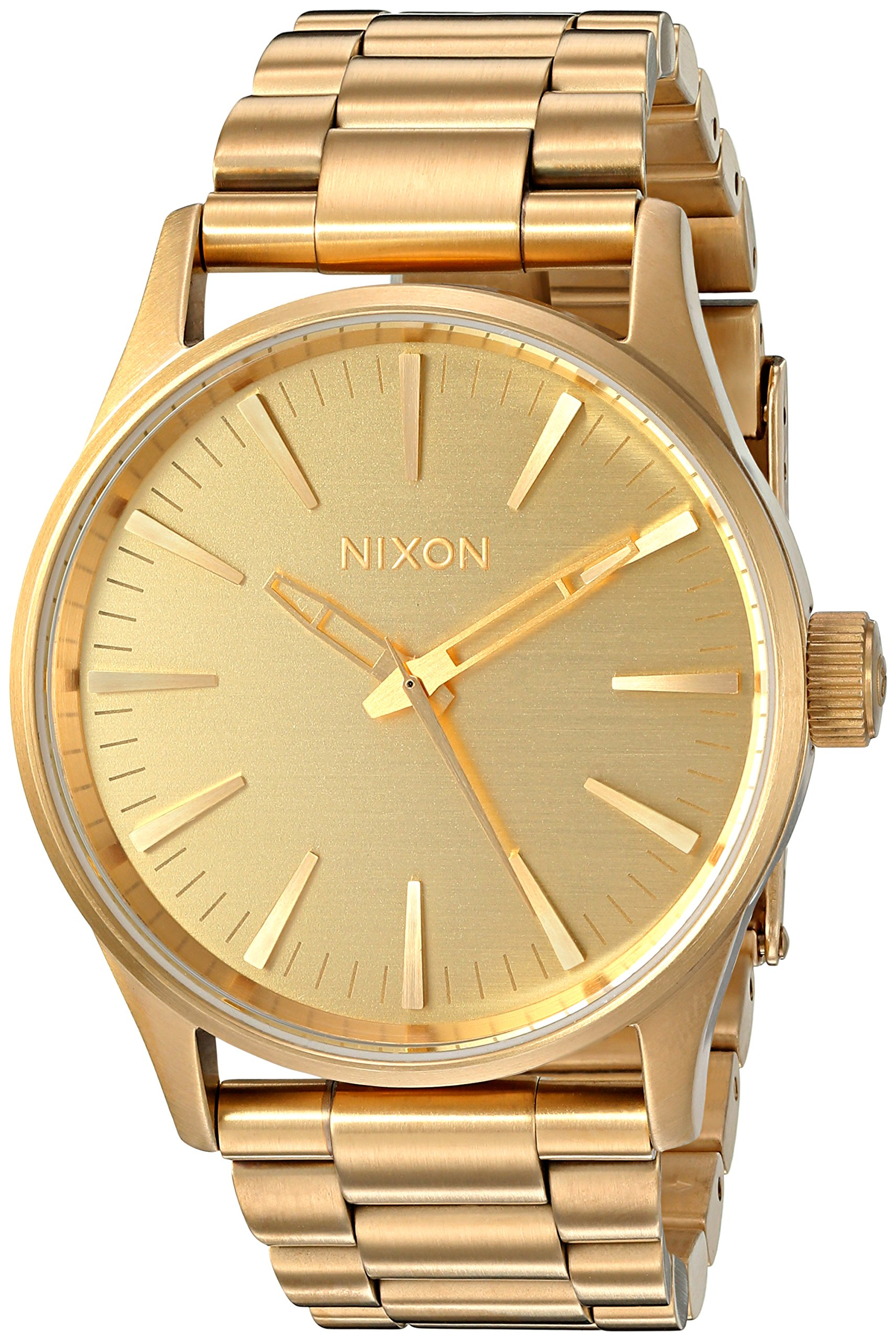 Nixon Sentry 38 SS A356-502-00. All Gold Men's Watch (42mm Gold Watch Case. 23-20mm Gold Stainless Steel Band)