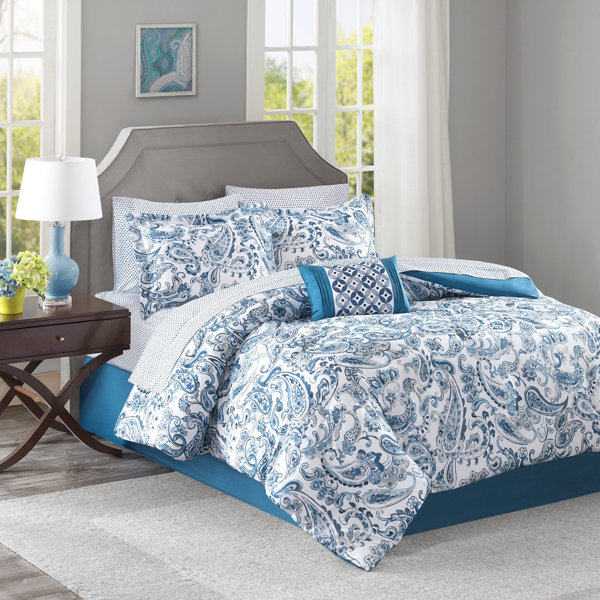 9 Piece Girls Teal Blue Green Paisley Pattern Comforter Cal King Set, Elegant All Over Scrollwork Motif Flowes Theme Bedding, Rich Bohemian Hippie Indie Style, French Country Design, Vibrant Colors