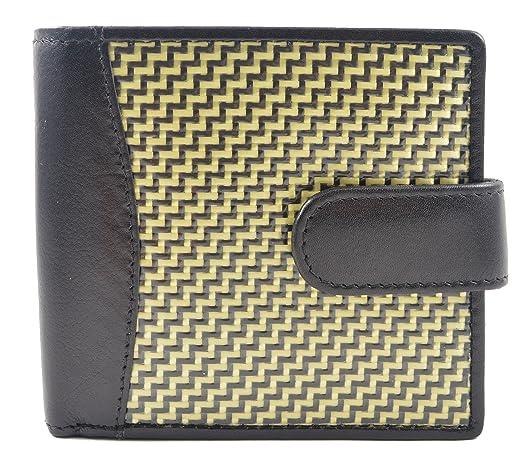 Real Carbon Fibre Kevlar Alufibre Leather Gents Wallet Credit Card Notes Coin ID