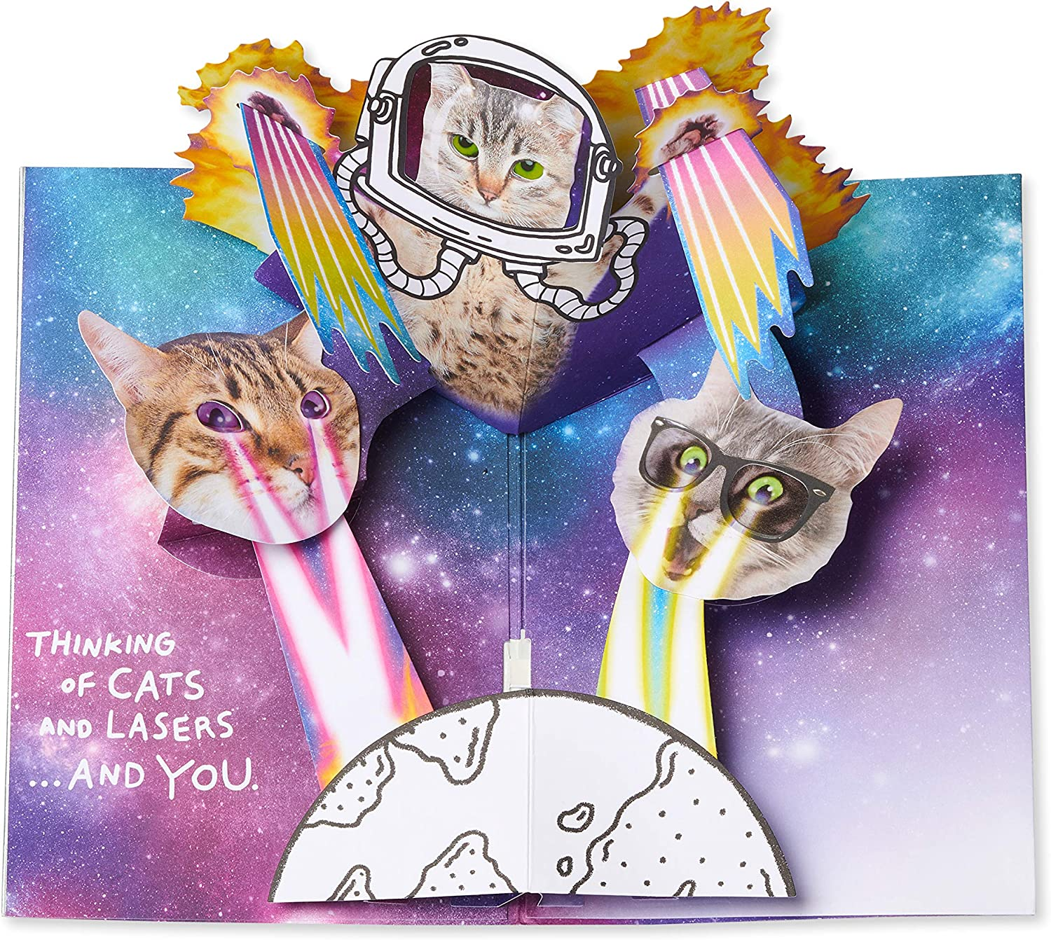 American Greetings Funny Pop Up Birthday Card with Music Cats In Space