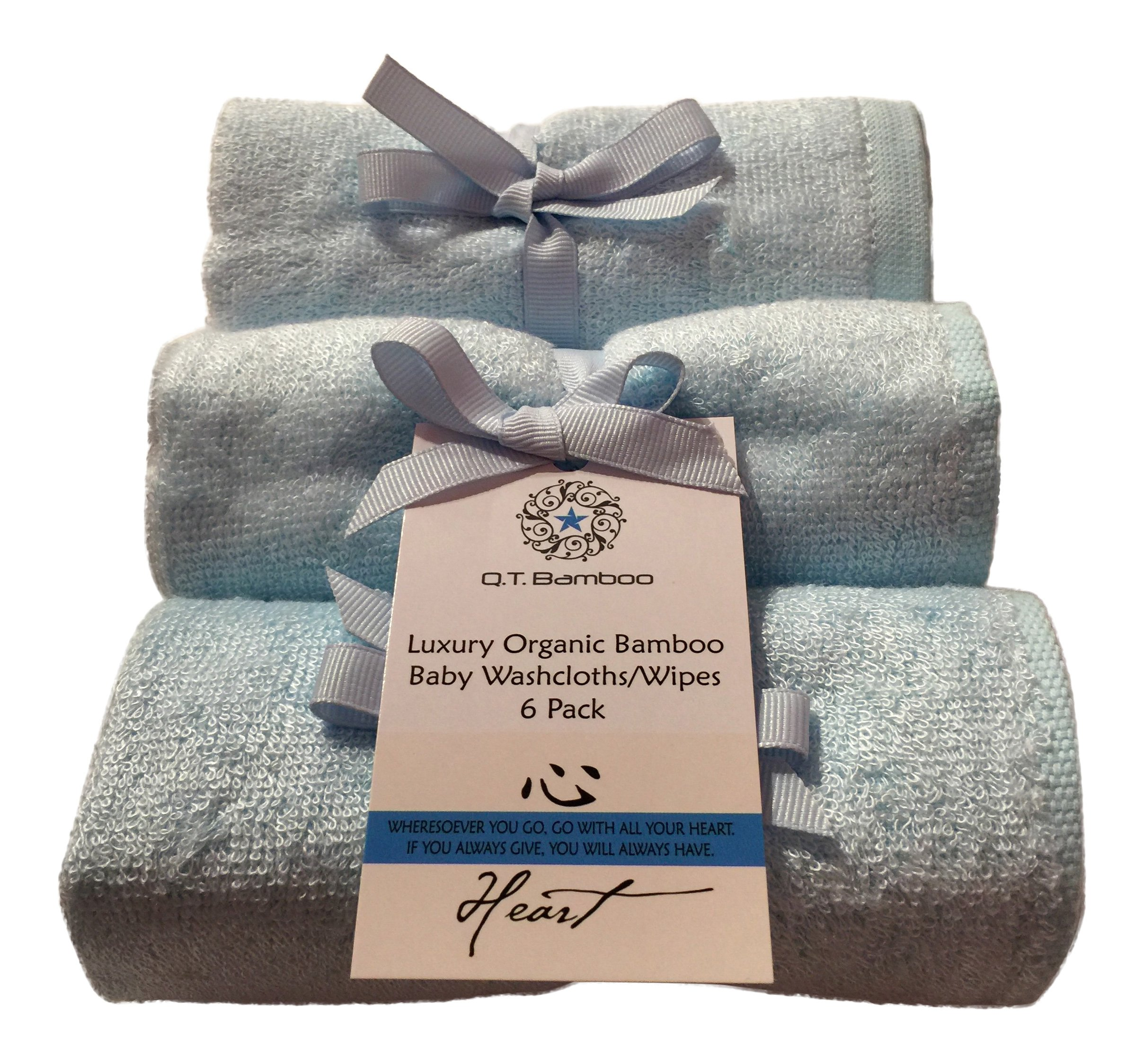 Bamboo Washcloths Face Towels for Sensitive Skin Great for Baby or Adult 6 Pack (Blue) by Q.T. Bamboo