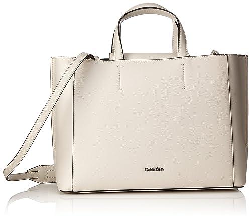 Calvin Klein - Metropolitan Tote, Bolsos totes Mujer, Gris (Cement/Off White