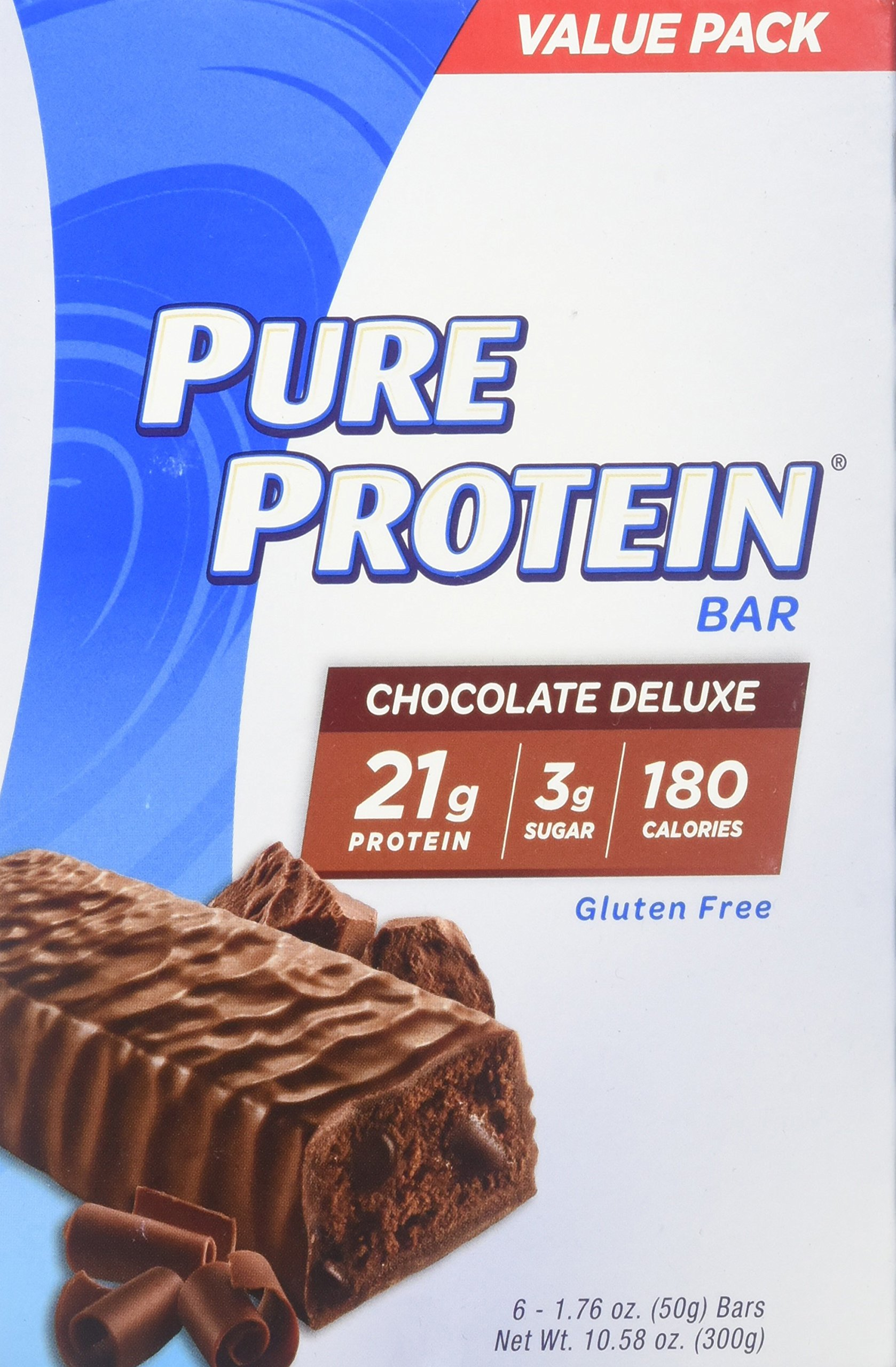 Pure Protein Bars, High Protein, Nurtritious Snacks to Support Energy, Low Sugar, Gluten Free, Chocolate Deluxe, 1.76oz, 6 Pack, 2 Pack