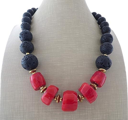 42001fc0dd7c Collar de coral rojo y lava negra