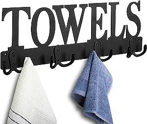 Towel Rack 8 Hooks Towel Holder & Organizer Wall Mount Towel Holder Black Sandblasted Robe Hooks Rustproof and Waterproof for Bathroom Towels, Robes, Kitchen Storage Organizer Rack, Clothing