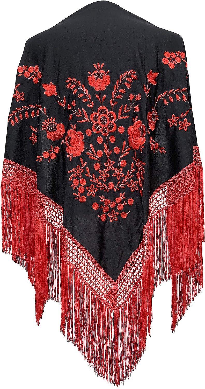 La Se/ñorita Foulard cintura chale manton de manila Flamenco scialle di danza nero rosso frangia rosso Large