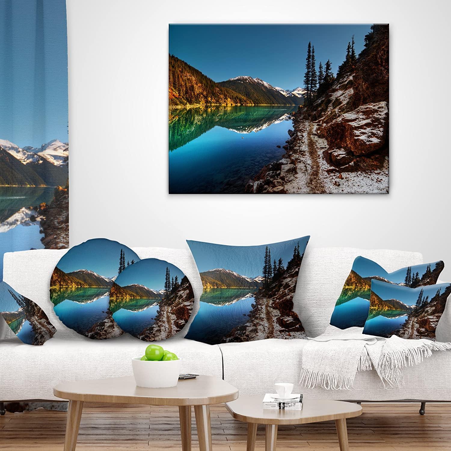 Sofa Throw Pillow x 16 in, Designart CU14410-16-16 Blue Clear Lake with Mountains Landscape Printed Cushion Cover for Living Room