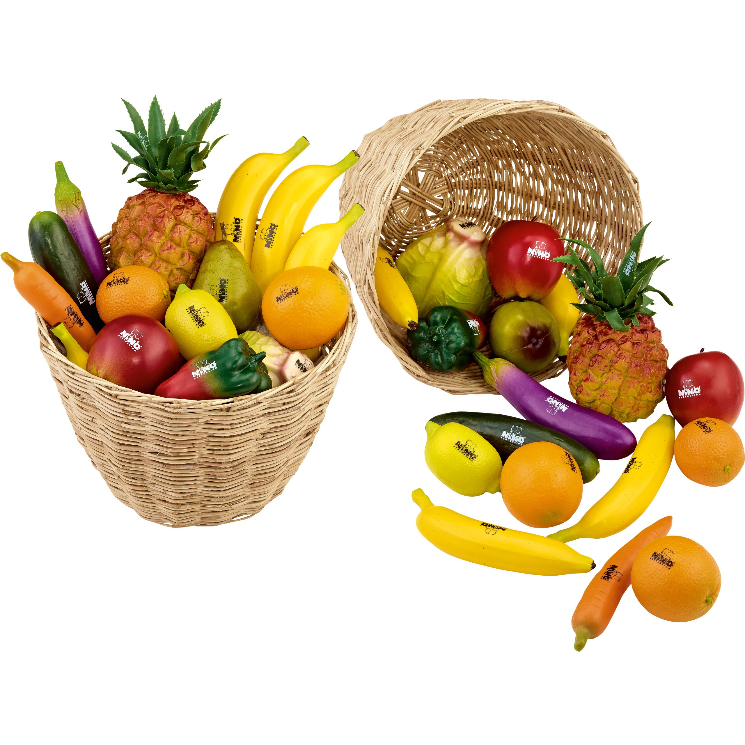 Nino Percussion VE36-NINO536 Plastic Fruit & Vegetable Shaker Assortment with Basket, 36 Pieces by Nino Percussion