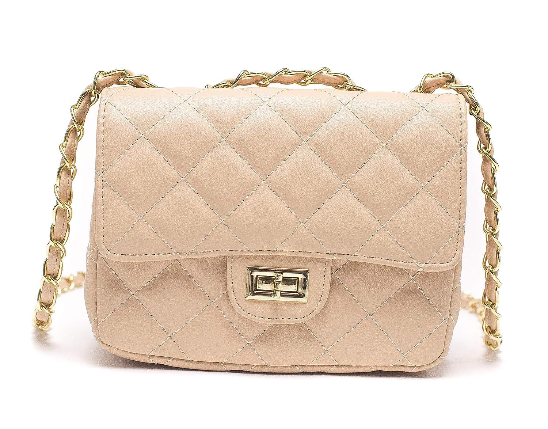 a59bd3c7d001e ILISHOP Women s Fashion Shoulder Bag Quilting Chain Cross Korean Ladies  Handbag (Apricot)  Handbags  Amazon.com