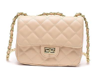 2a545dc458f ILISHOP Women s Fashion Shoulder Bag Quilting Chain Cross Korean Ladies  Handbag (Apricot)