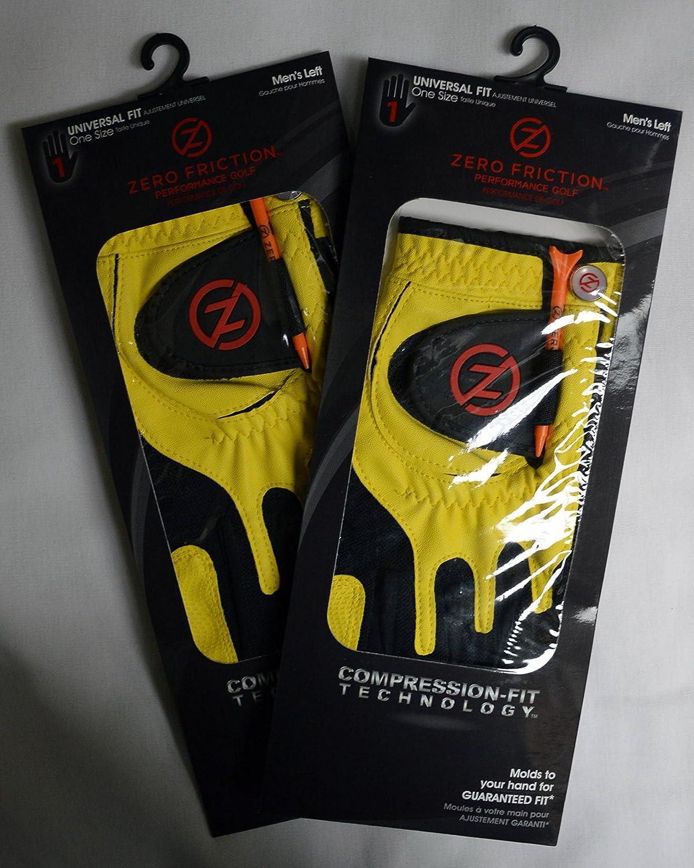 2 Zero Friction Men s Golf Gloves, One Size, Left Hand, Yellow