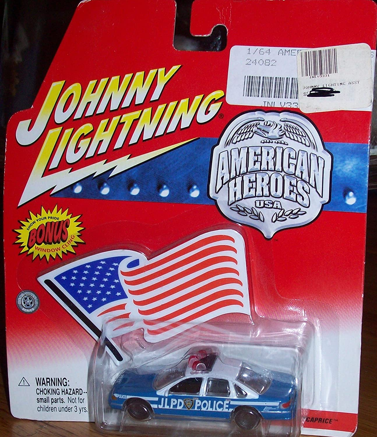 Johnny Lightning AMERICAN HEROES JLPD POLICE CHEVY CAPRICE PLAYING MANTIS