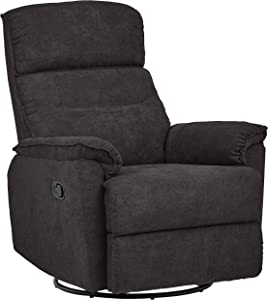 Ravenna Home Pull Recliner with Rotating 360 Swivel Glider,Living Room Chair, Fabric, Dark Grey