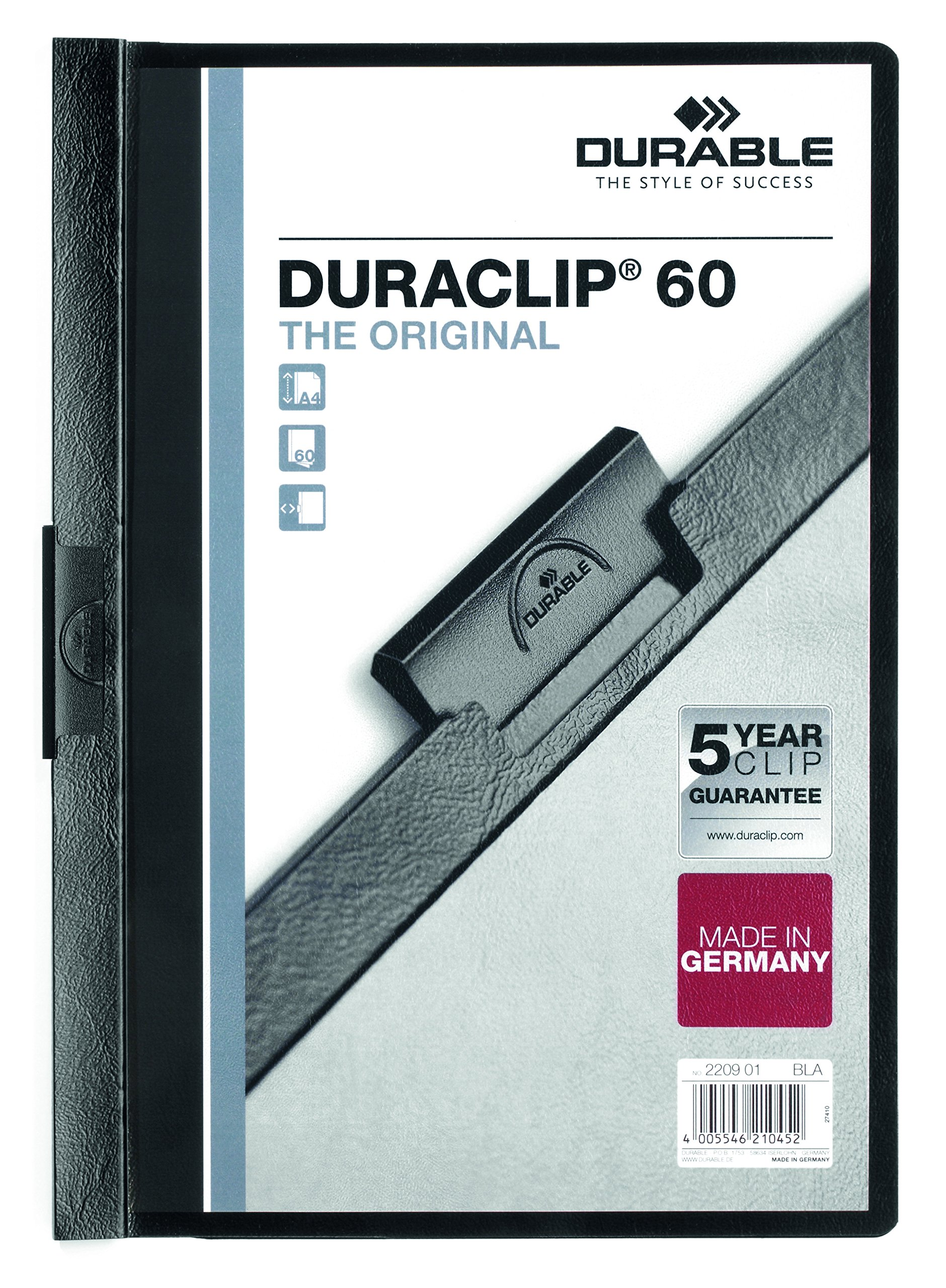 Durable Vinyl DURACLIP Report Cover, Letter, Holds up to 60 Pages, Clear/Black, 25 per Box (221401)